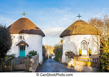 Veryan Round Houses - Historic thatched round houses at...
