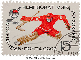 verzamelbaar, postzegel, van, sovjetunie