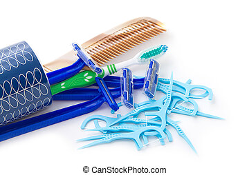 verzameling, accessoire, van, persoonlijke hygiëne
