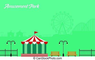 verzameling, achtergrond, vermakelijkheid park, landschap
