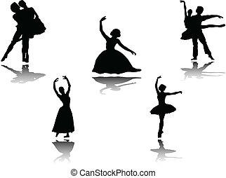 verzameling, ballet, schaduw