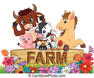 verzameling, boerderijdieren, in de tuin