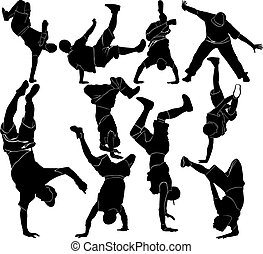 verzameling, breakdance, silhouette, br