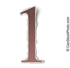verzameling, brieven, render, papier, ouderwetse , gescheurd, een, nummer 1, cutouts., getallen, alfabet, krant, gebaseerd, 3d