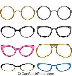 verzameling, bril, voor, elke, proeven