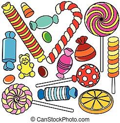 verzameling, candy., spotprent, illustratie, omtrek