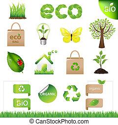 verzameling, eco, ontwerp onderdelen, en, iconen