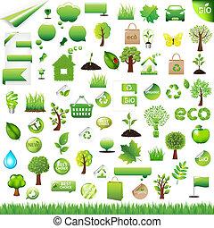 verzameling, eco, ontwerp onderdelen