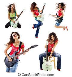 verzameling, foto's, van, een, schattig, guitarist, vrouw