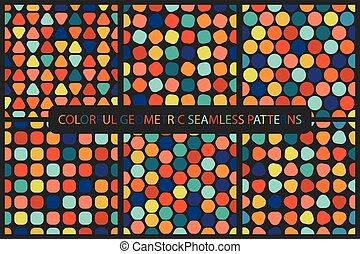 verzameling, geometrisch, patterns., seamless, kleurrijke
