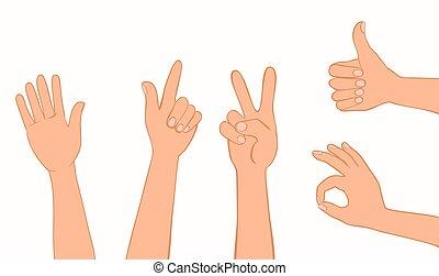 verzameling, gestures.