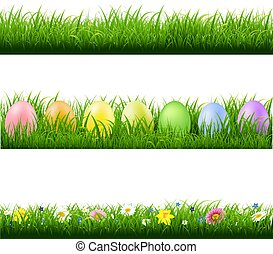 verzameling, groene achtergrond, randjes, gras, witte