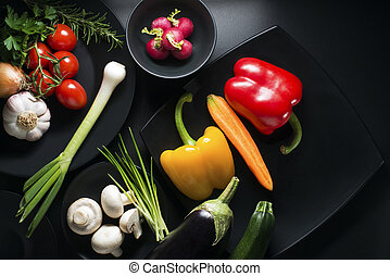 verzameling, groentes