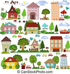 verzameling, huisen, ontwerp, bomen, u, spotprent