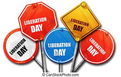 verzameling, meldingsbord, bevrijding, dag, straat, vertolking, ruige , 3d
