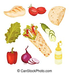 verzameling, menu, vector, set., doner, shoarma, ingredienten, fastfood
