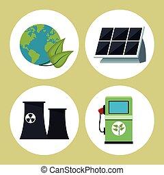 verzameling, milieu, schone energie