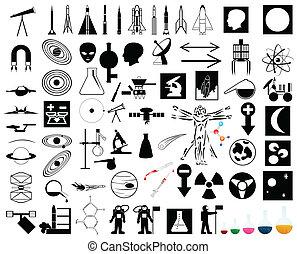 verzameling, op, een, wetenschap, en, ruimte, theme., een,...