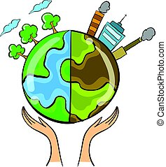 verzameling, slecht, milieu, wereld, doodle