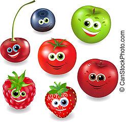 verzameling, spotprent, fruit, en, besjes