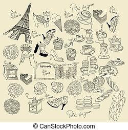 verzameling, symbolen, van, parijs