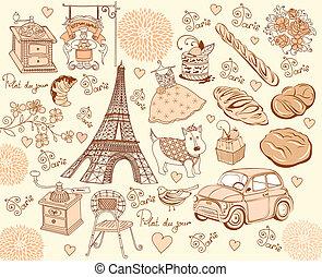 verzameling, symbolen, van, paris., hand, d