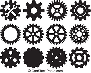verzameling, tandwiel, machine