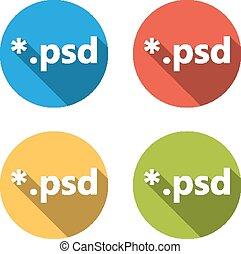 verzameling, van, 4, vrijstaand, plat, knopen, (icons),...