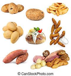 verzameling, van, aardappel, beelden, vrijstaand, op wit