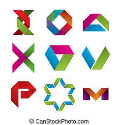 verzameling, van, abstract, iconen, van, cassette