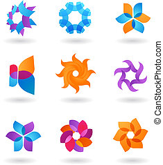 verzameling, van, abstract, ster, iconen