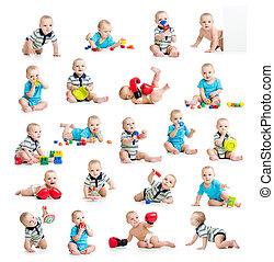 verzameling, van, actief, baby, of, geitje, jongen