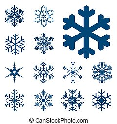verzameling, van, anders, blauwe , snowflakes