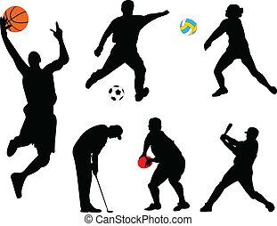 verzameling, van, anders, sportende