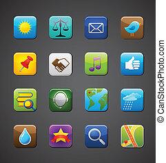 verzameling, van, apps, iconen