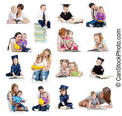 verzameling, van, baby's, of, geitjes, lezende , een, book.,...