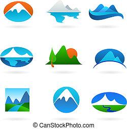verzameling, van, berg, verwant, iconen