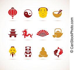 verzameling, van, china, iconen