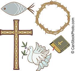 verzameling, van, christen, symbolen