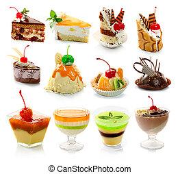 verzameling, van, delicous, dessert, vrijstaand, op wit