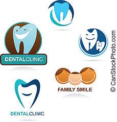 verzameling, van, dentaal, kliniek, iconen