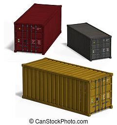 verzameling, van, drie, container