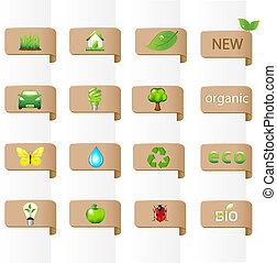 verzameling, van, ecologie, tekens & borden