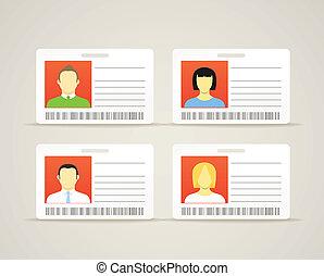 verzameling, van, een, identificatie, kaarten, met, de, schattig, personen