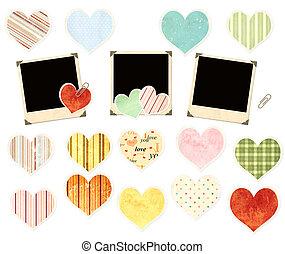 verzameling, van, foto's, en, papier, hartjes