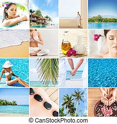 verzameling, van, foto's, over, thailand., vrije tijd, ontspanning, concept.