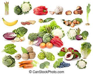verzameling, van, fruit, en, groentes, vegetariër, dieet