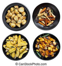 verzameling, van, geroosterd, groentes, vrijstaand