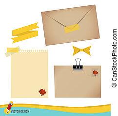 verzameling, van, gevarieerd, papieren, gereed, voor, jouw, message., vector, illustratie, set:, enveloppe, postzegel, cassette, lint, en, leeg, papier, designs.