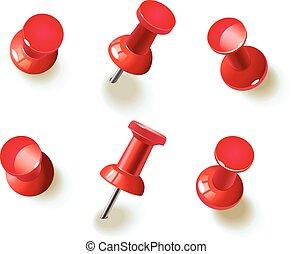 verzameling, van, gevarieerd, rood, pushpins